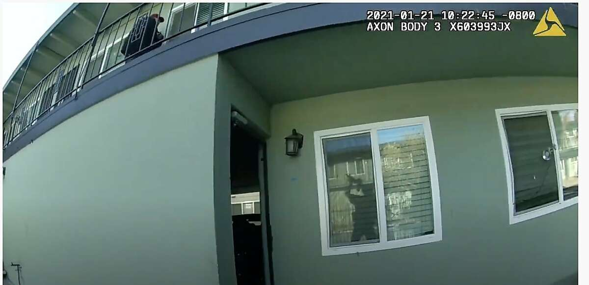 A screen grab of footage captured by San Jose police body cameras showing officers shooting at David Tovar, who later died of his injuries.