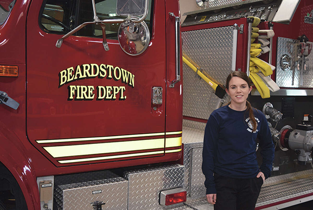 Tiffany Smith, 27, of Browning, is Beardstown's first full-time female firefighter.