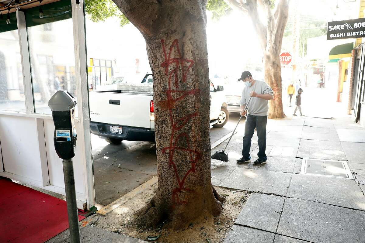 Even the trees have been tagged with graffiti near Tio Chilo's parklet on 24th Street in San Francisco.