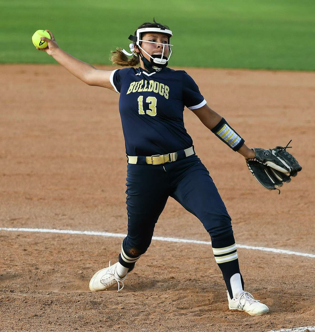 Alexander High School Krista Gamez pitches during a game against Zapata High School, Monday, Mar. 8, 2021, at the UISD Student Activity Complex.