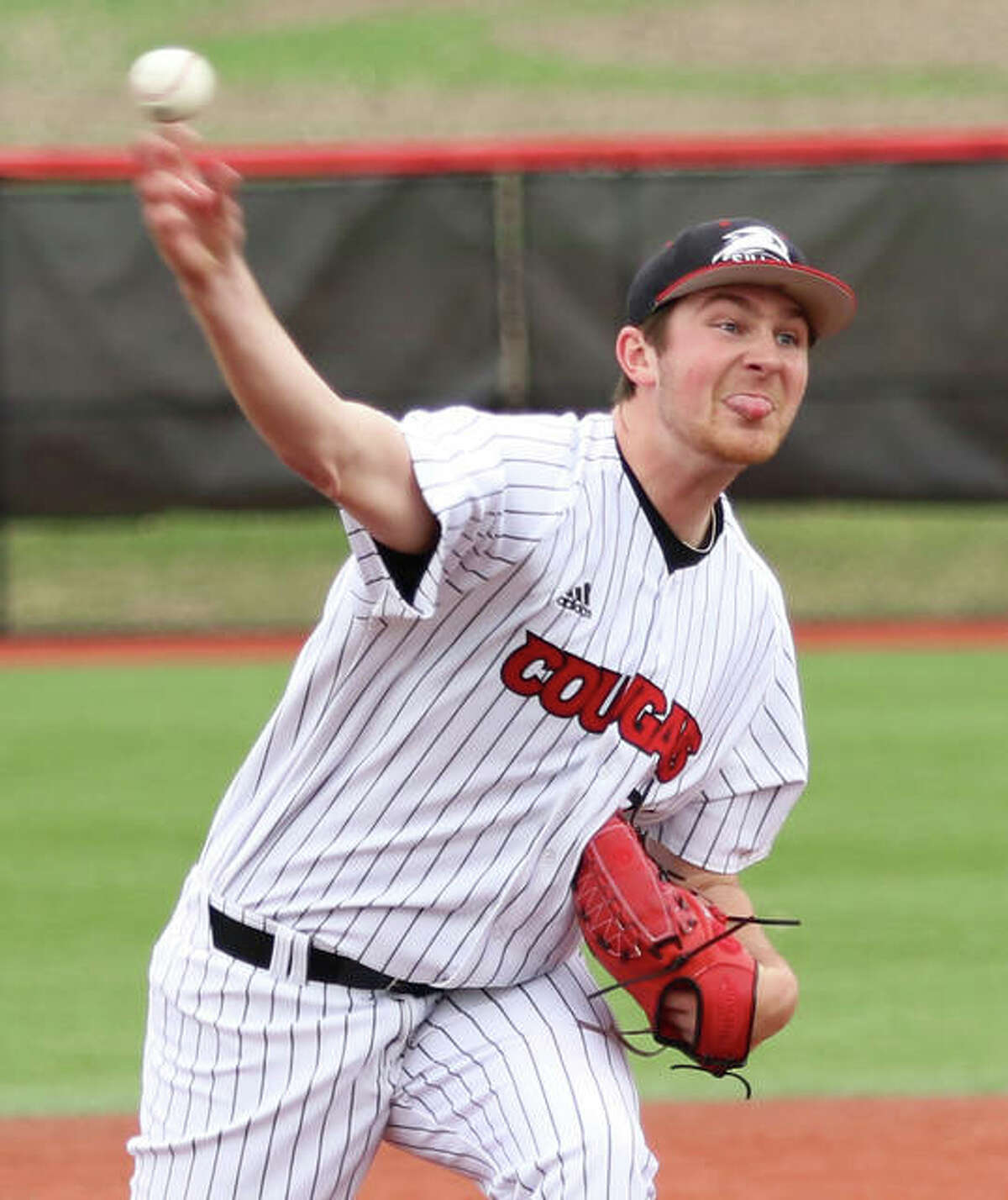 Collin Baumgartner delivers a pitch to the plate during a 2019 start for SIUE at Simmons Baseball Complex in Edwardsville. The former Telegraph Player of the Year at Southwestern underwent Tommy John surgery last week.