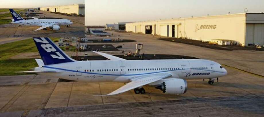 A Boeing 787 Dreamliner is shown at the San Antonio Boeing plant. Employees will work on the jet's mechanical and operating systems.