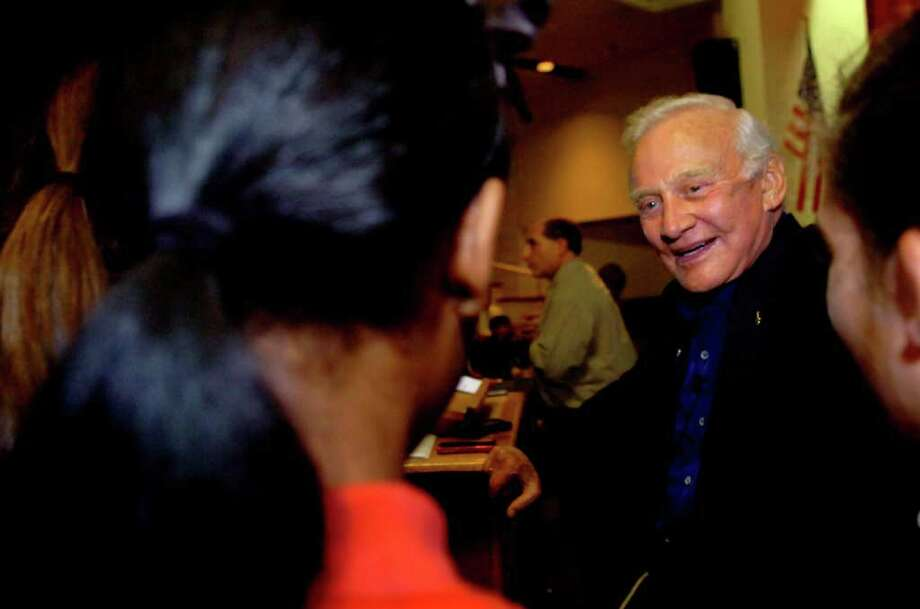 Former Astronaut Buzz Aldrin, speaking with students at Greenwich Country Day School before his presentation at the school, on Wednesday, Sept. 8, 2010.A Photo: Helen Neafsey / Greenwich Time
