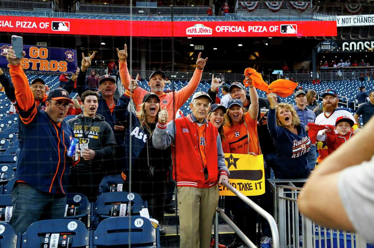 Mattress Mac, Jim McIngvale, is photographed with fans before Game 4 of the World Series at Nationals Park in Washington, D.C. on Saturday, Oct. 26, 2019.