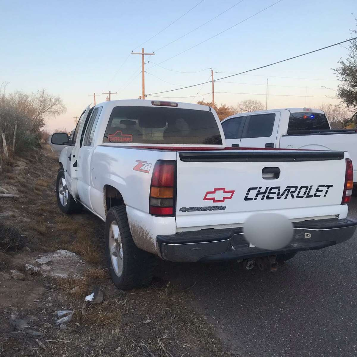 Zapata County Sheriff's Office deputies said they discovered six immigrants illegally present in the country inside this white Chevy Silverado.