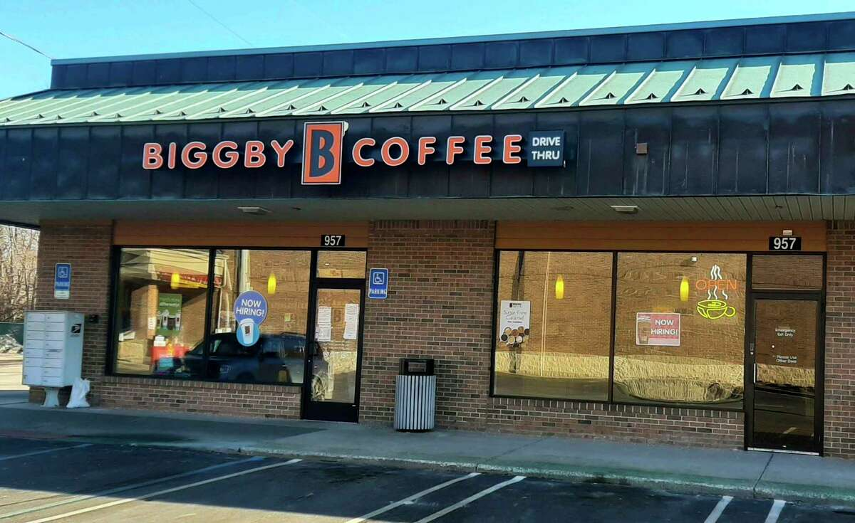 Biggby Coffee, located at 957 S Saginaw Rd. in Midland, is under new ownership. Cory and Norma Psycher and Jim Hop purchased the store in October of last year. (Photo by Niky House)