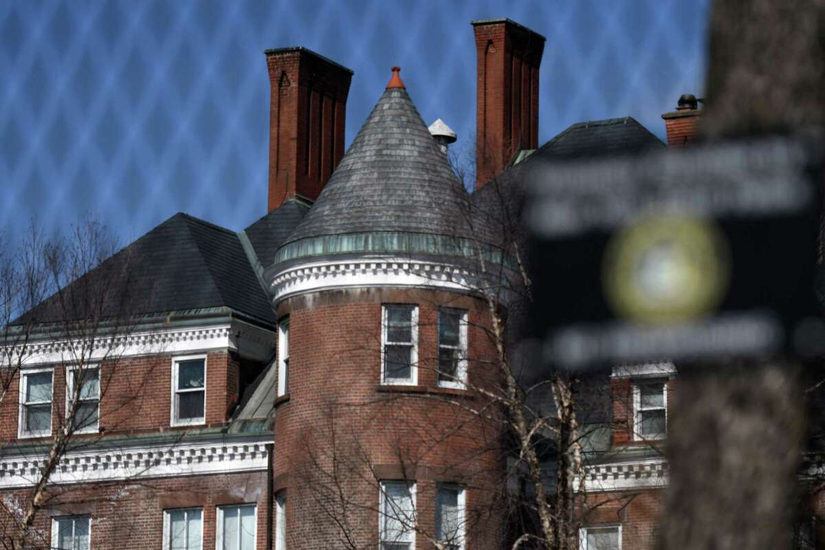 The New York State Executive Mansion is viewed through a fence on Tuesday, March 9, 2021, on Eagle Street in Albany, N.Y. (Will Waldron/Times Union)
