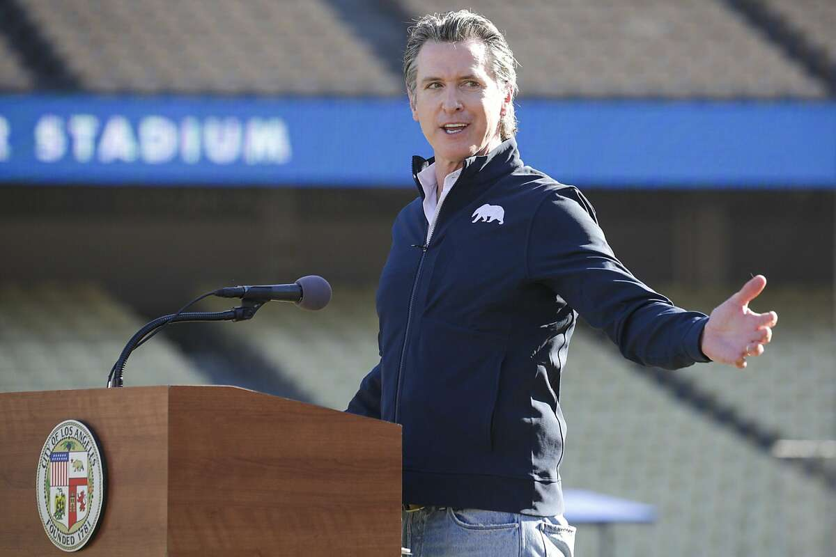 Gov. Gavin Newsom in January at Dodger Stadium, where he delivered his State of the State address Tuesday evening.