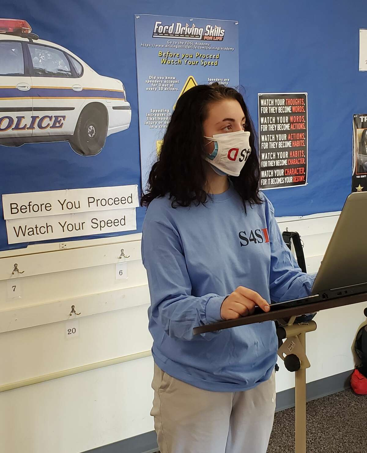 Elsa Akins conducts a virtual presentation to West Shore Educational Service District Career and Technical Education Center students on the importance of obeying posted speed limits.