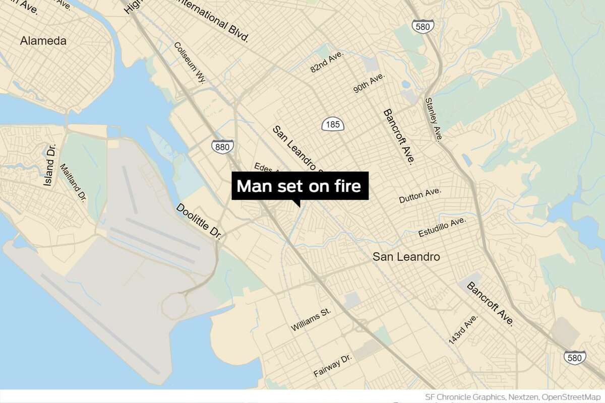 A homeless man died Monday after being doused with a flammable liquid and set on fire last week in East Oakland, authorities said. Police summoned to the 500 block of Douglas Avenue last Wednesday found a badly burned man with serious burns over most of his body. He was taken to St. Francis Memorial Hospital burn center in San Francisco and later died.