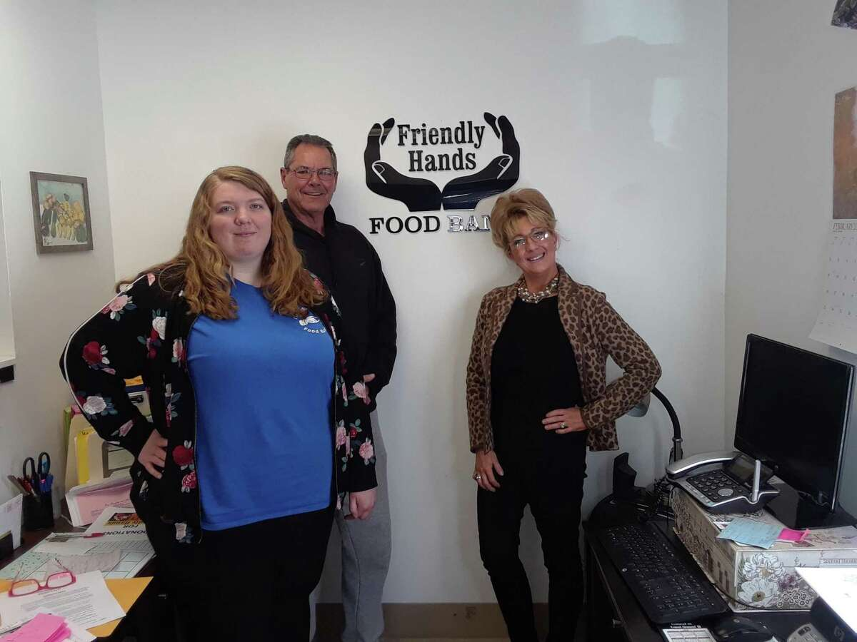 Friendly Hands Food Bank, in a partnership with the Torrington Housing Authority and Mayor Elinor Carbone, are offering meals and food box delivery to every senior living complex in the city of Torrington. From left are Friendly Hands secretary Abbey Sekulski, board president Dan Hartnett and executive director Karen Thomas.