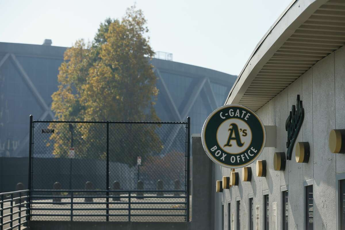 An exterior view of Oakland-Alameda County Coliseum before a game between the Oakland Athletics and the Arizona Diamondbacks on Aug. 19, 2020.