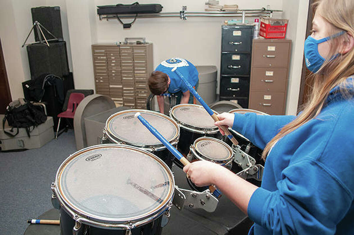 Students of the Jacksonville Drumline Institute practice at First Baptist Church on Mound Street. Students of all ages can join to learn drumming and placed in classes with other students of similar playing abilities.
