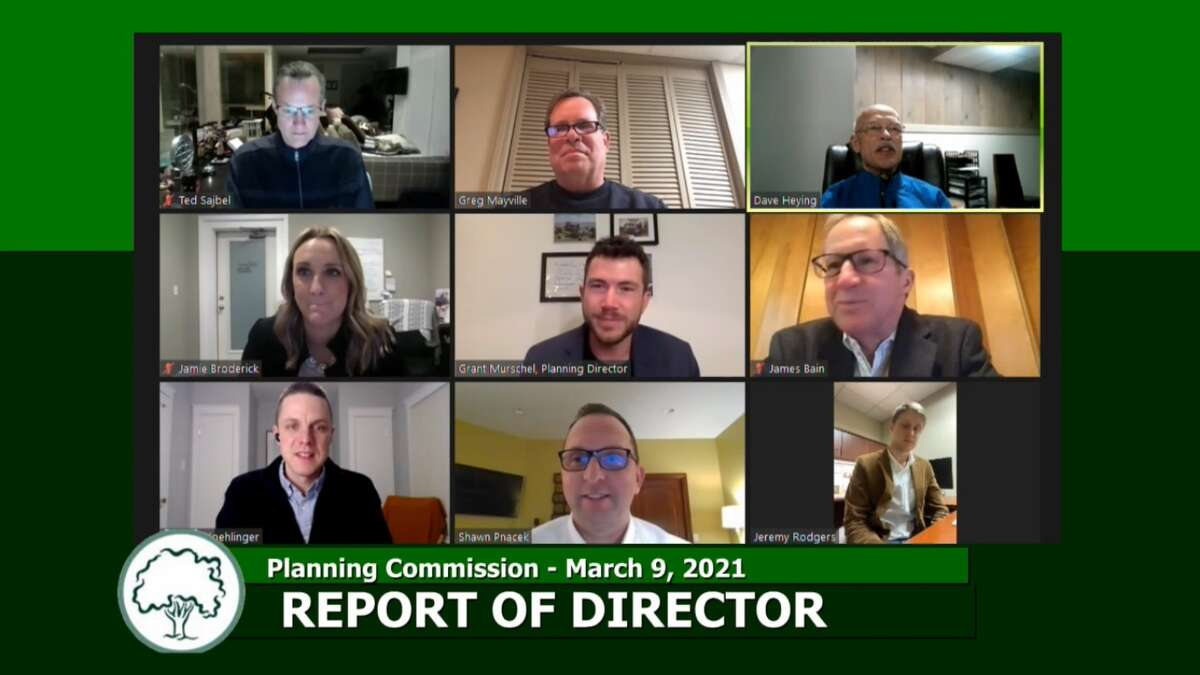 Midland Planning Commission met virtually, March 9, 2021. It was Commissioner Dave Heying's last meeting as a member. (Screen photo/City of Midland)