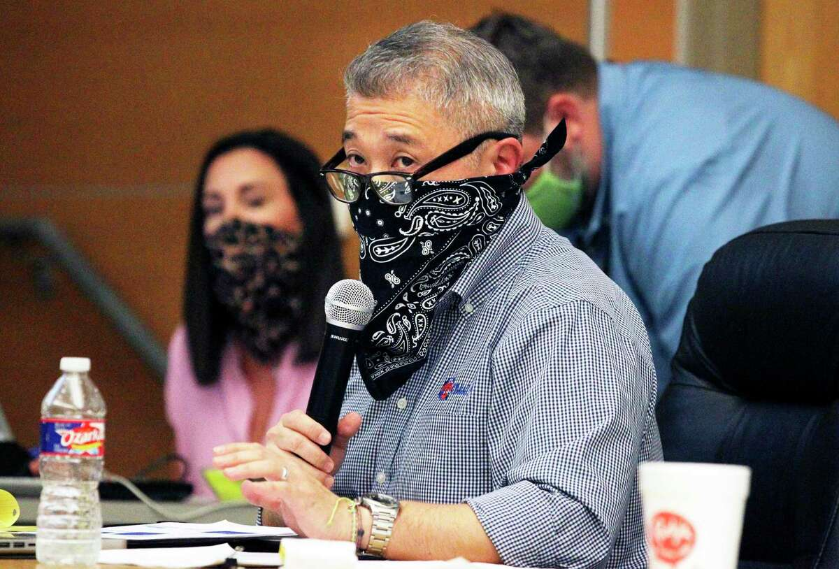 Comal Independent School District board decided Tuesday, March, 9, 2021, to make mask-wearing optional for students and staff. In August 2020, Superintendent Andrew Kim, seen here, discussed plans with the board for coronavirus safety protocols for the upcoming school year