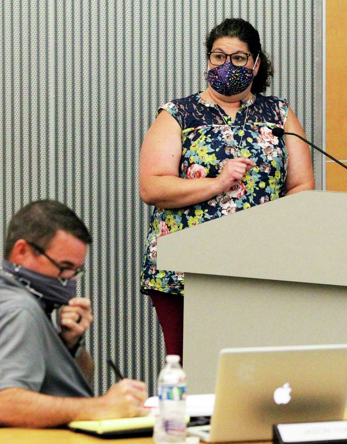 Comal Independent School District board decided Tuesday, March, 9, 2021, to make mask-wearing optional for students and staff. Teacher Kate Fraser, seen here urging the board in August 2020 to require stricter protocols, said the new optional mask decision could make some parents want to pull their children out of in-person learning.