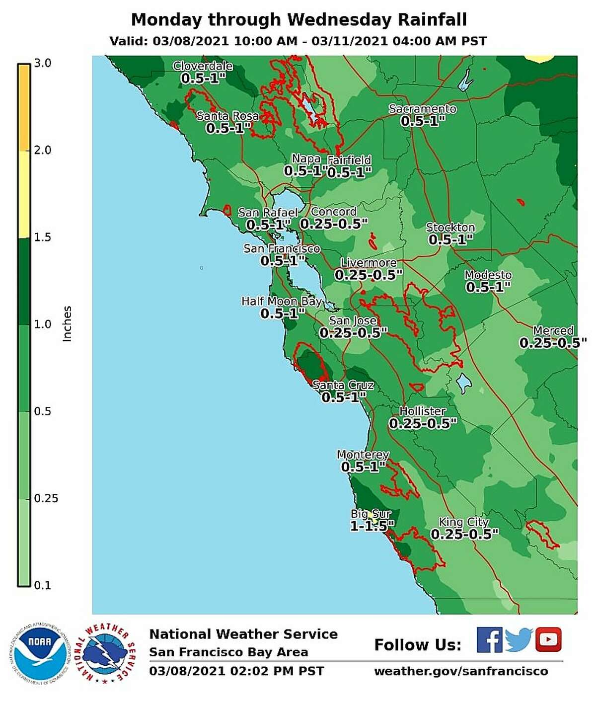 Most of the Bay Area will receive up to half an inch of rain, with higher elevations receiving up to an inch of rainfall.