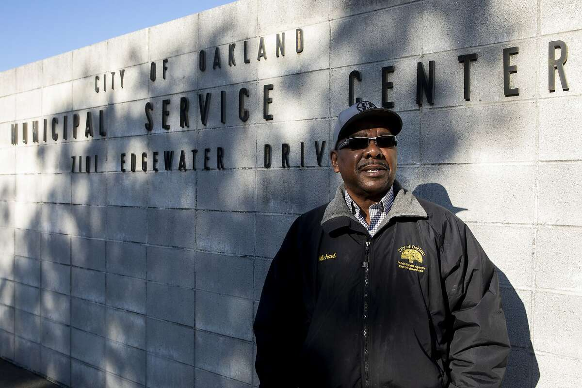 Oakland city electrician Michael Patterson poses for a portrait outside of his workplace at the City Of Oakland's Municipal Service Center in Oakland, Calif. Monday, January 25, 2021. City workers are worried about possible budget cuts.