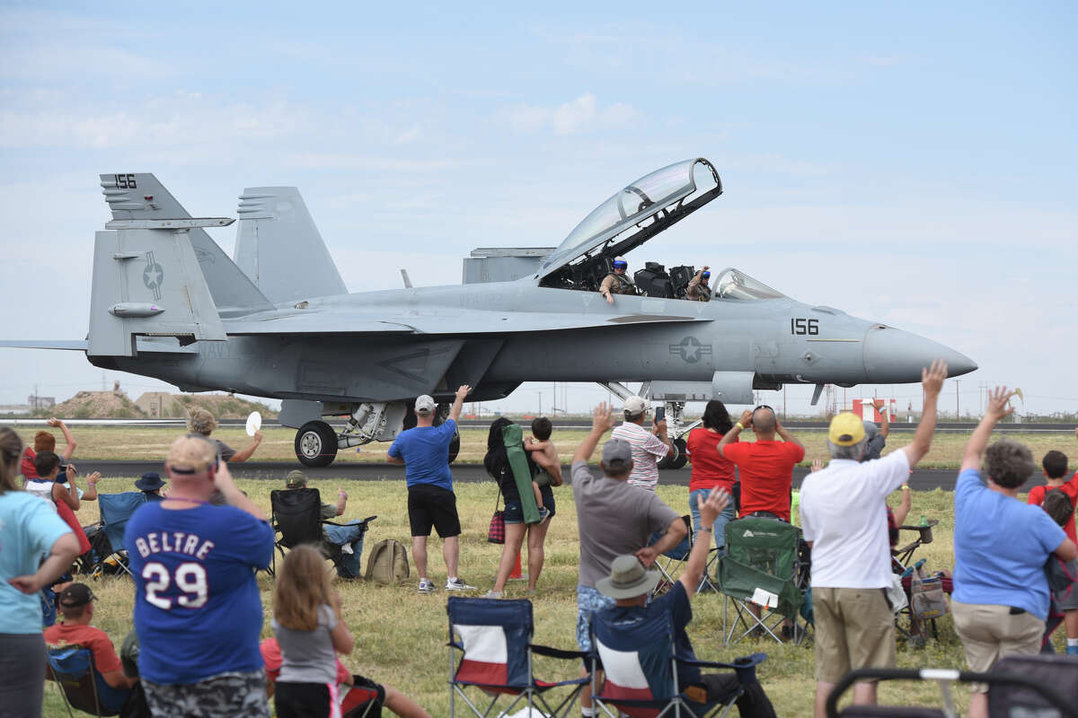 A U.S. Navy F/A-18 Super Hornet demo aircraft taxis during the 27th Annual High Sky Wing AirSho in 2017 at Midland International Airport.