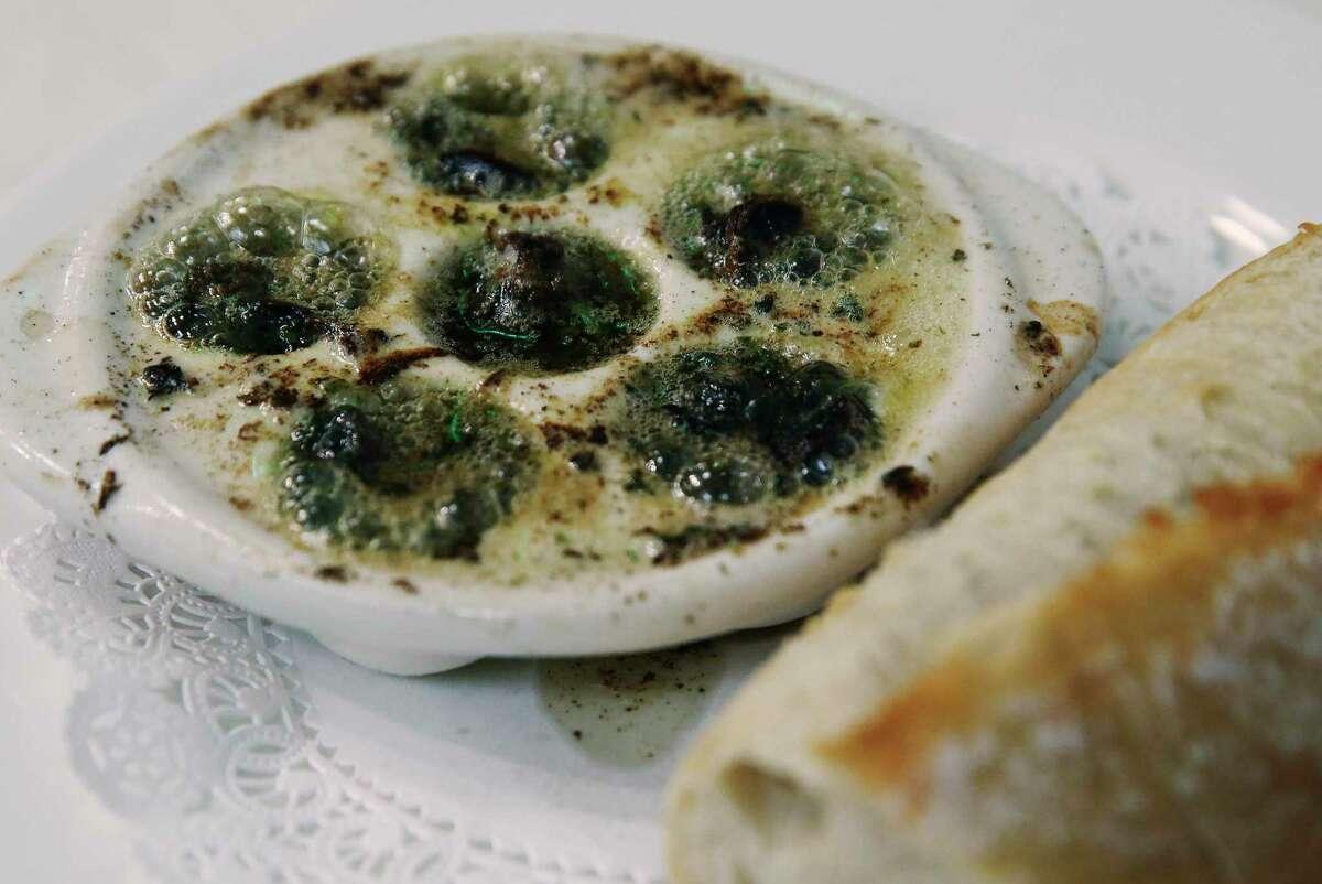 Classic escargot in garlic butter with baguette from Brasserie Mon Chou Chou