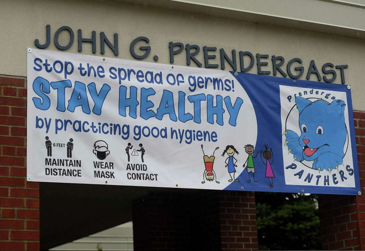 The first day of school at Prendergast School in Ansonia, on Sept. 2, 2020.