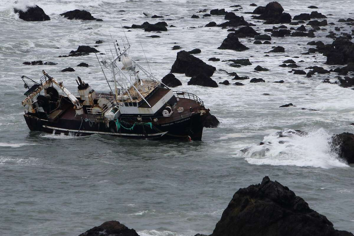 The wreck of the American Challenger fishing vessel, Marin, Calif., March 8, 2020.