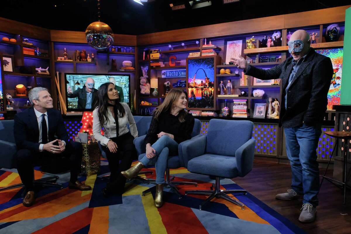 """""""Watch What Happens Live"""" host Andy Cohen, left, is pictured with Padma Lakshmi, Gail Simmons and Tom Colicchio. The late-night show halted in-studio production in March 2020."""