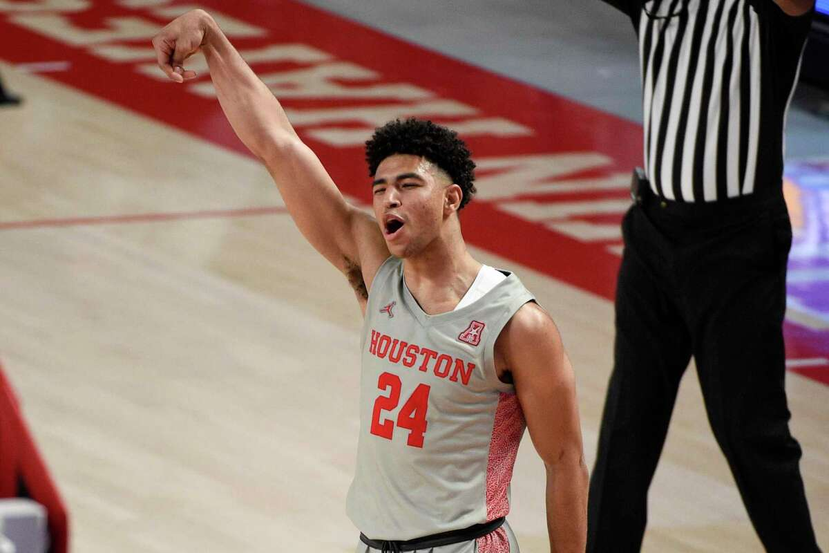 Houston guard Quentin Grimes, seen Feb. 25, shared the AAC's Player of the Year honors with Wichita State's Tyson Etienne.