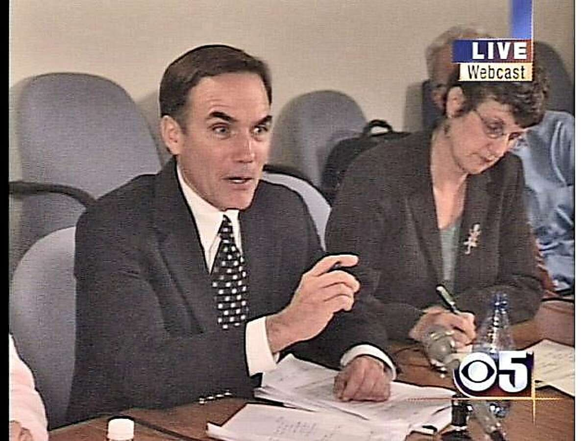 Chronicle Editorial Page Editor John Diaz and Deputy Editorial Page Editor Lois Kazakoff at an insurance commissioner debate in 2006.