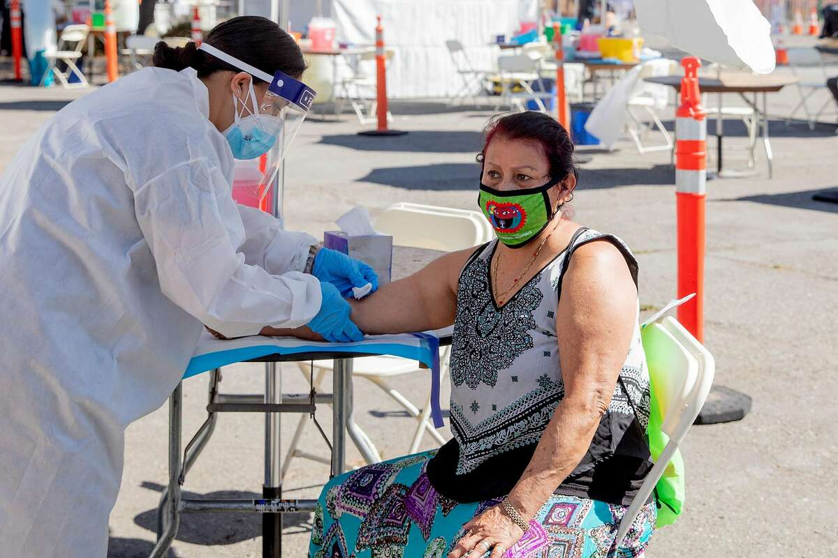 Maria Susana Chavez of Oakland gets her blood drawn for an antibodies test. More than a third of Californians who were recently tested for antibodies appear to have some immunity against the coronavirus