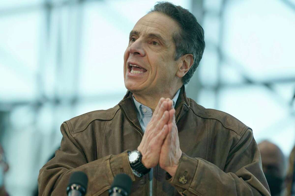 New York Gov. Andrew Cuomo speaks at a vaccination site at the Jacob K. Javits Convention Center on March 8, 2021 in New York City. Cuomo has been called to resign from his position after allegations of sexual misconduct were brought against him. (Photo by Seth Wenig/Getty Images)