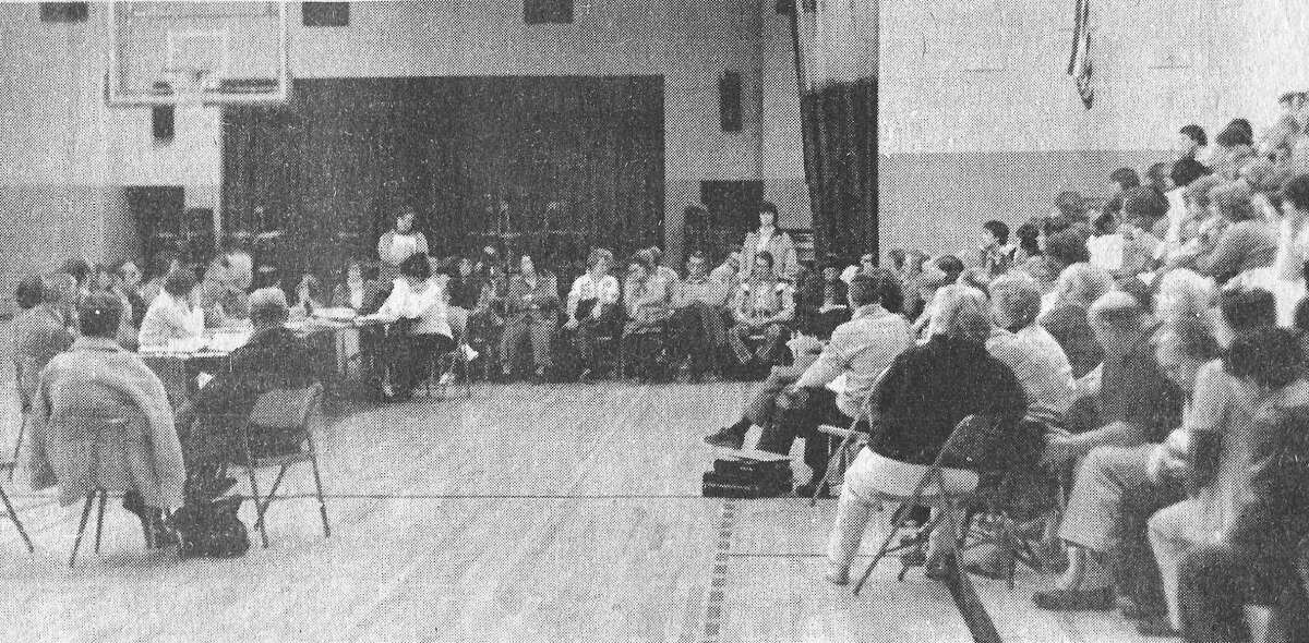 Various issues brought about 250 people to theKaleva Norman DicksonBoard of Education meeting 40 years ago. The meeting lasted about six hours. The photo was published on the front page of the News Advocate on March 11, 1981. (Manistee County Historical Museum photo)
