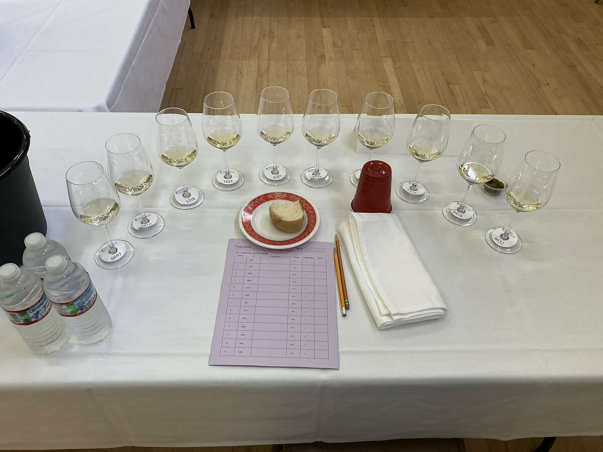 The mise en scene at a typical morning of the San Francisco Chronicle Wine Competition.