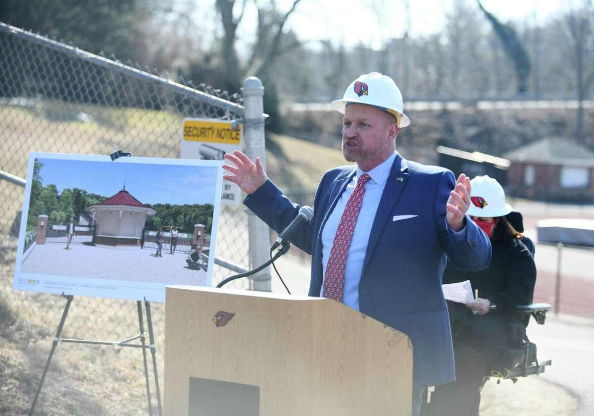 Board of Education member Joe Kelly speaks at the groundbreaking for the improvements to Cardinal Stadium at Greenwich High School in Greenwich, Conn. Wednesday, March 10, 2021.