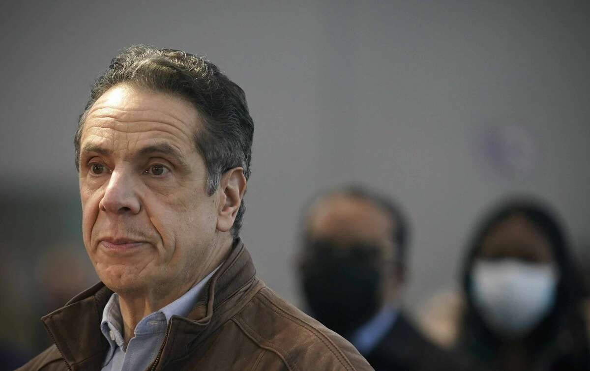 Roughly six months after the publication of his book on the coronavirus, Gov. Andrew Cuomo visits a New York City vaccination site. (AP Photo/Seth Wenig)