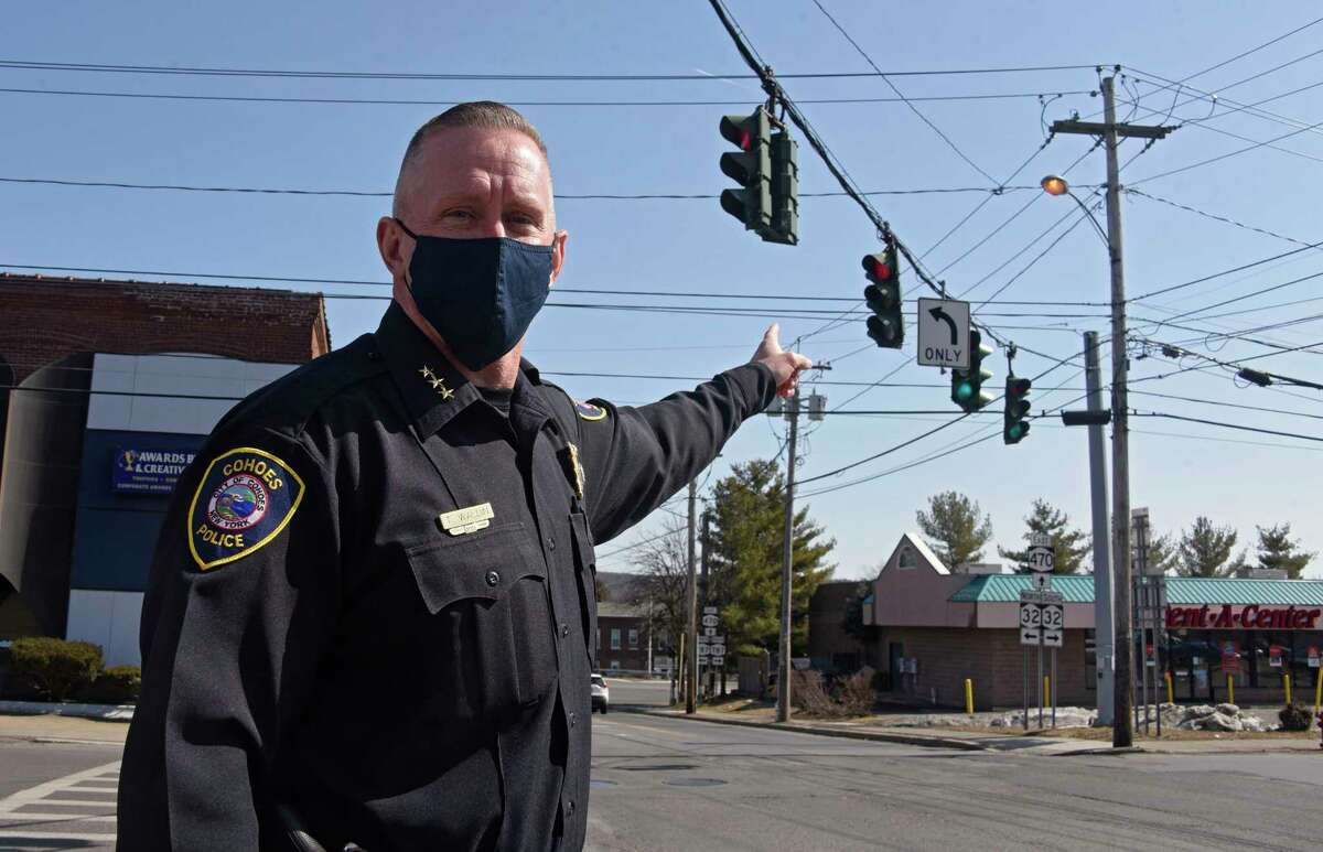 Cohoes Police Chief Todd Waldin points to the pole where one of the new surveillance cameras the city is installing is going at the intersection of Ontario and Saratoga Streets on Wednesday, March 10, 2021 in Cohoes, N.Y. But the $100,000 that came from Norlite that was to be used for the cameras has been rescinded by the company. (Lori Van Buren/Times Union)