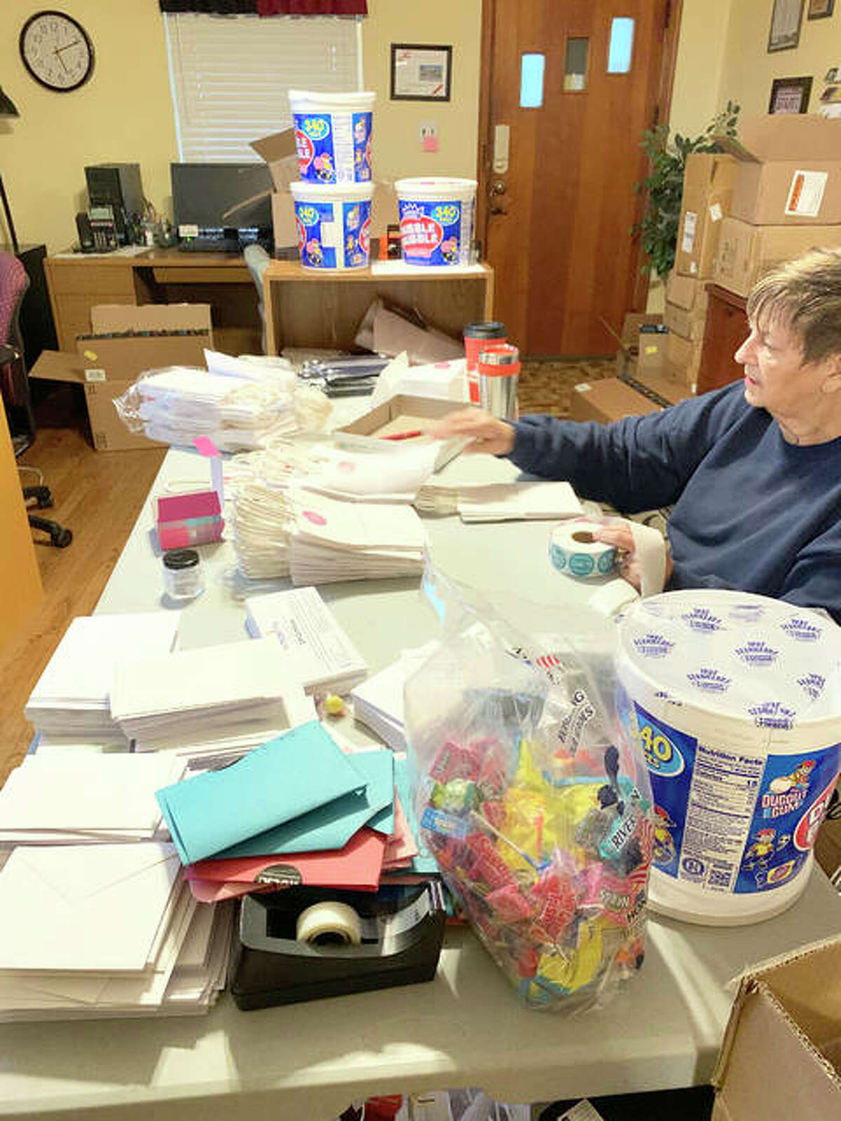 Volunteer Sue Johnson helps with the production of kindness bags for Anderson Hospital employees.