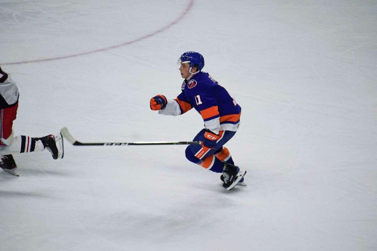 Bridgeport Sound Tigers forward Tanner Fritz (11) skates against the Hartford Wolfpack on February 17, 2021 at the Webster Bank Arena in Bridgeport, Conn.