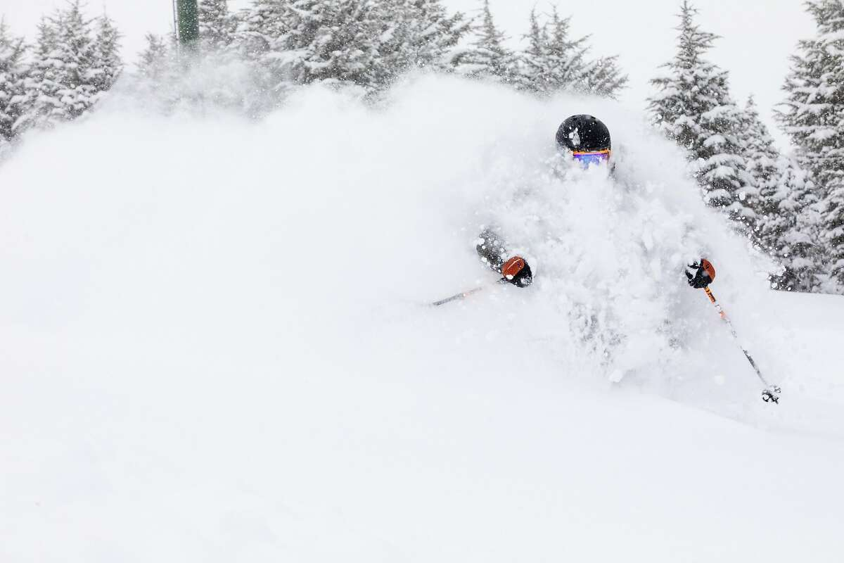 A skier carves powder at Kirkwood Mountain Resort on Wednesday, March 10.