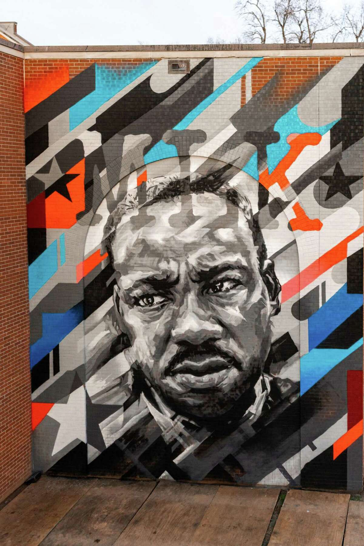 An online fundraiser for the Torrington mural project has been started, with a goal of $7,500. For every dollar raised, Sustainable CT will match every dollar raised to install a Martin Luther King Jr. mural somewhere in Torrington. Here, an MLK painting by artist Ben Keller, who is the lead artist for the Torrington project.