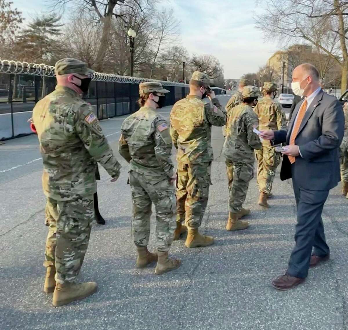 This week, Congressman John Moolenaar passed out food and gift cards to Michigan National Guard members, who are serving in Washington, D.C. (Courtesy photo)
