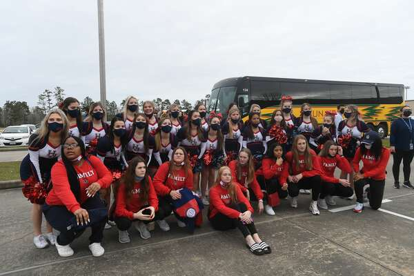 The Hardin-Jefferson Lady Hawks basketball team gets a spirited send-off at the school Wednesday morning as they head off to San Antonio for Thursday's state final championship. Photo made Wednesday, March 10, 2021 Kim Brent/The Enterprise