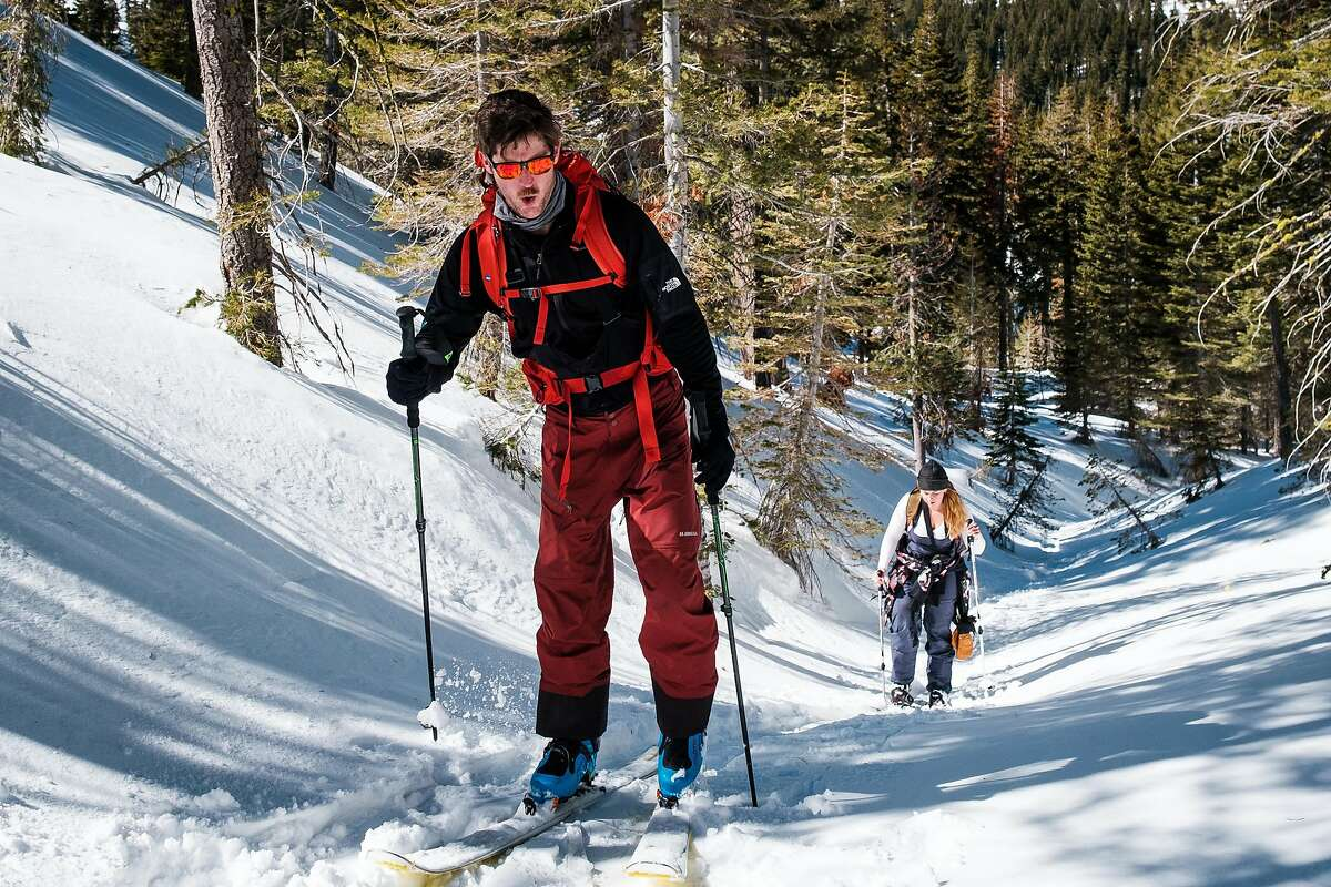 Tristan Biles of Stateline, Nev., an Alpenglow Expeditions student, skins uphill during a class in Olympic Valley.