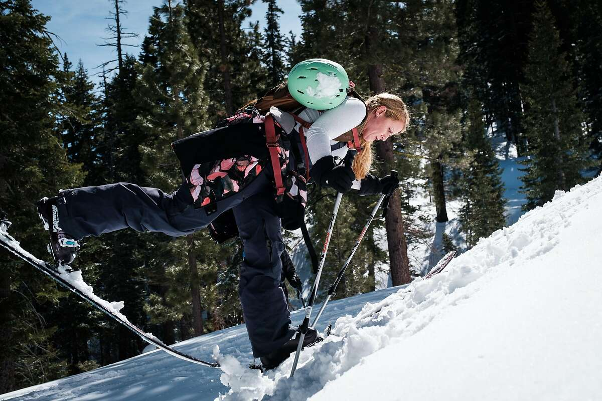 Alpenglow Expeditions student Aubrey Worley practices a kick turn during a backcountry class in Olympic Valley (Placer County).