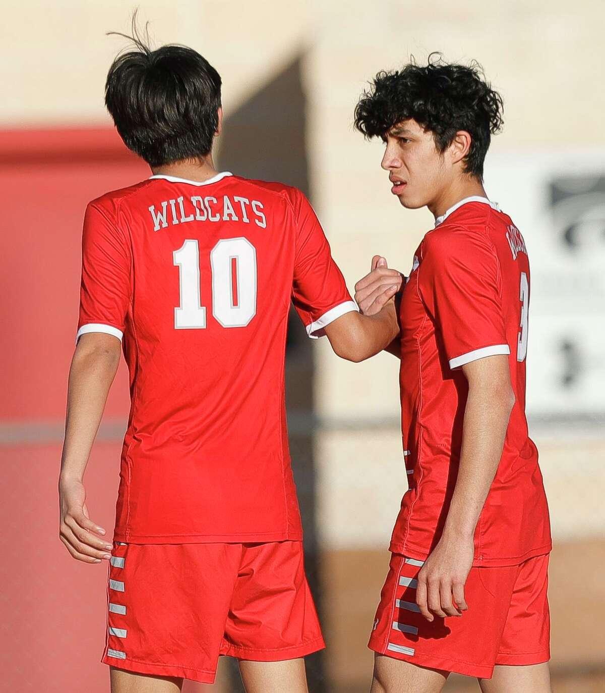 Shown here earlier this month, Splendora's Eduardo Avellanedo, right, and Baruc Delgado (10) each scored a goal in a 2-0 win over Huffman-Hargrave