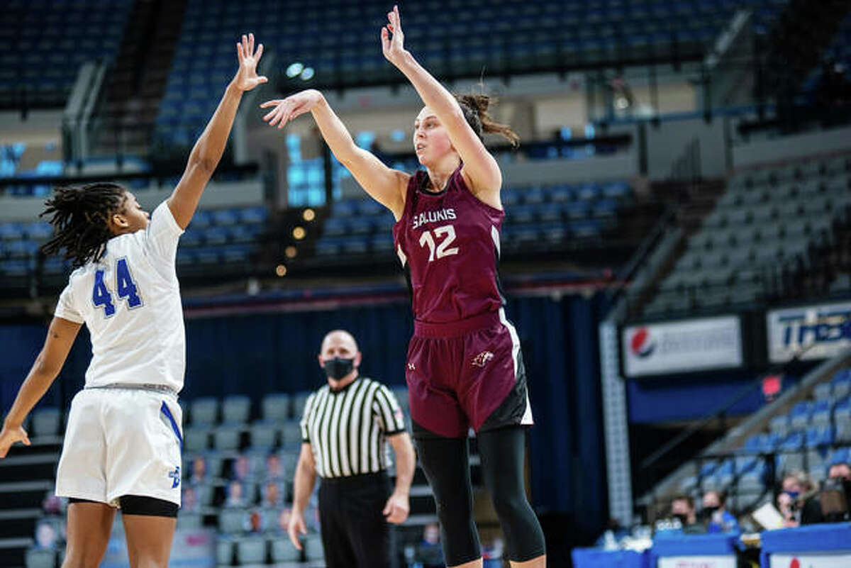 SIUC senior guard Makenzie Silvey puts up a 3-point attempt during a game earlier this season for the Salukis.