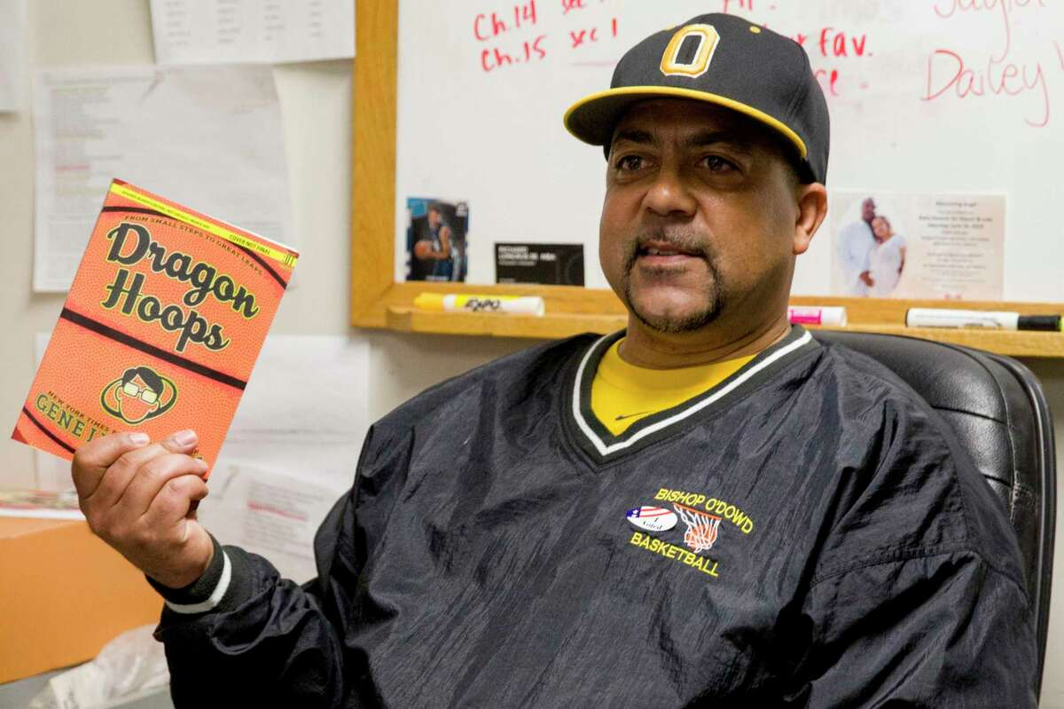 """Lou Richie, head basketball coach at Bishop O'Dowd High School in Oakland, on March 4, 2020. He coaches players who hope to play at the collegiate level, and says the NCAA's decision to let student athletes profit off the use of their names and images is an """"opportunity to make money will open doors for a lot of families and people."""""""