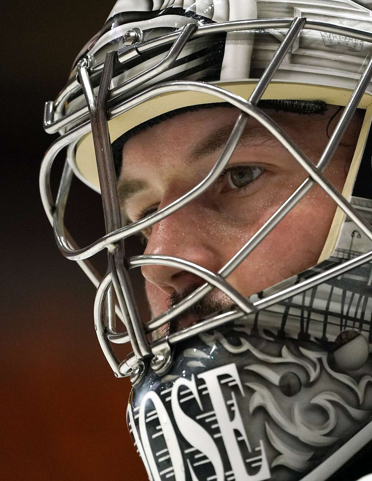 Los Angeles Kings goaltender Troy Grosenick stands in goal during the second period of an NHL hockey game against the Anaheim Ducks Wednesday, March 10, 2021, in Anaheim, Calif. (AP Photo/Mark J. Terrill)