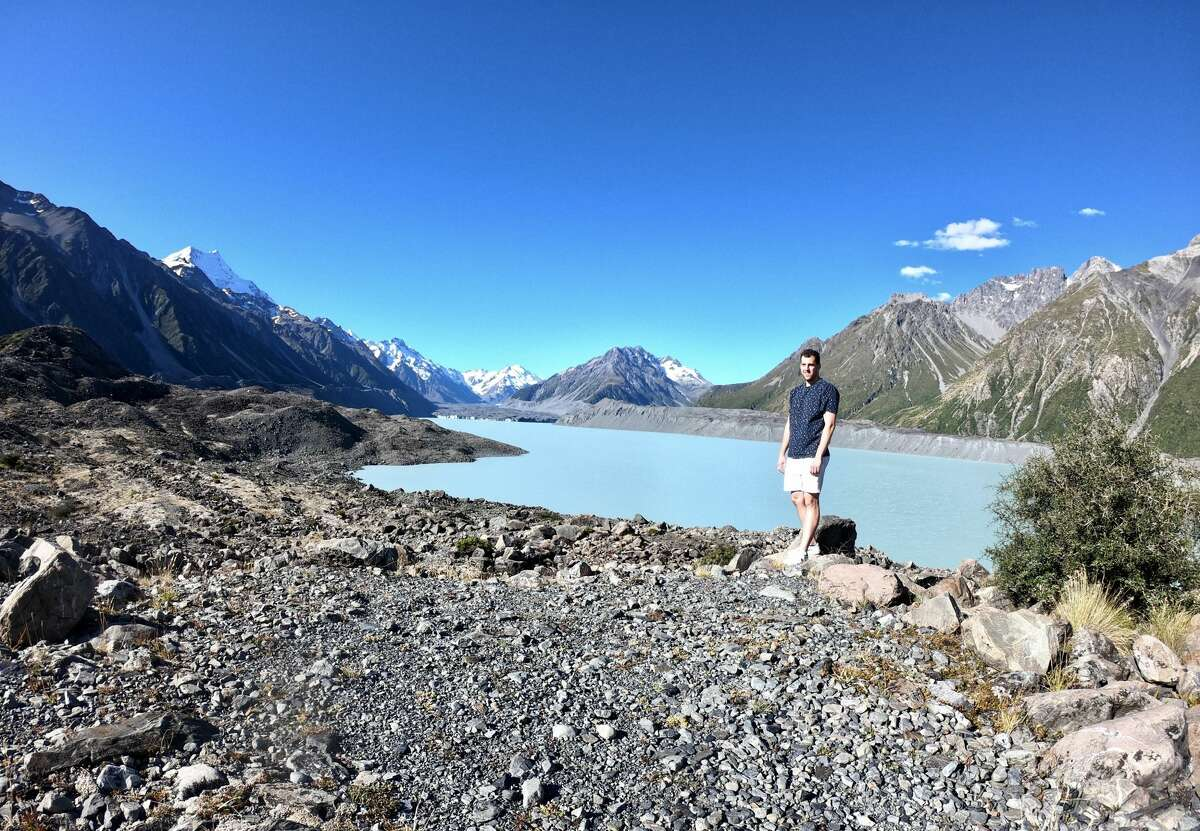 Meteorologist Ben Noll, shown here at Tasman Lake, one of his favorite spots in New Zealand, shares weather forecasts for his home region of the Hudson Valley over social media from his current home in the Southern Hemisphere.