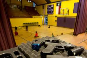 Mock weapons used to train educators in Harrold, Texas. The North Texas school district was the first to allow educators to carry guns on school grounds in 2007. Credit: